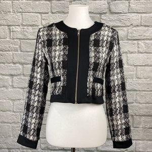 Love Ady Black & White Tweed Crop Blazer